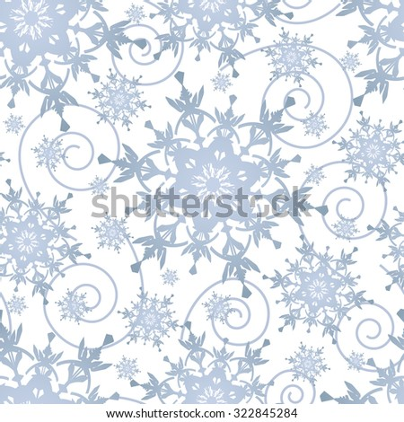 Beautiful winter white background seamless pattern with grey, blue ornate stylized snowflakes and swirls. Seasonal light festive seamless wallpaper for New Year and Christmas. Raster illustration - stock photo