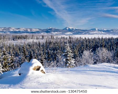Beautiful winter wilderness landscape of frozen Lake Laberge  Yukon Territory  Canada - stock photo