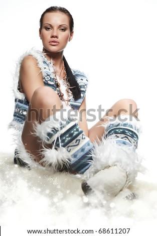 Beautiful winter woman - stock photo