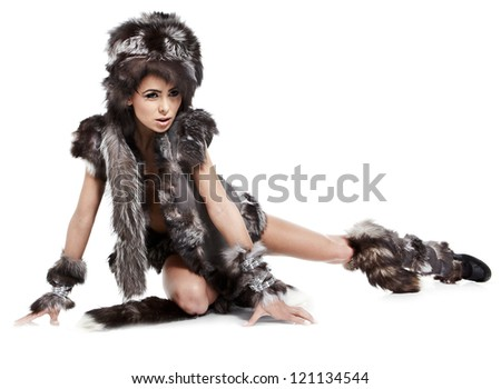 Beautiful Winter woman on white background