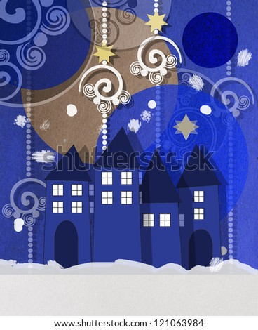 Beautiful wintry village square Christmas greeting card at twilight with welcoming glowing windows under a collage of decorative baubles and swirls
