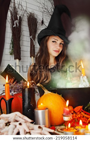 beautiful Witch brew the potion in the boiler