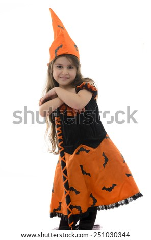 Beautiful Witch Girl and Broom Isolated on White Background