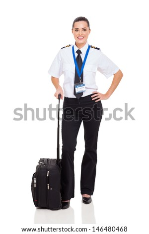 beautiful woman airline pilot with briefcase standing on white background - stock photo