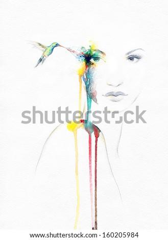 Beautiful woman and bird . watercolor illustration - stock photo