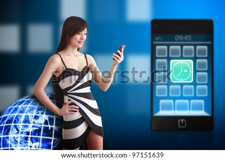 Beautiful woman and Clock icon on mobile phone : Elements of this image furnished by NASA
