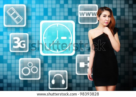 Beautiful woman and Clock icon on the wall