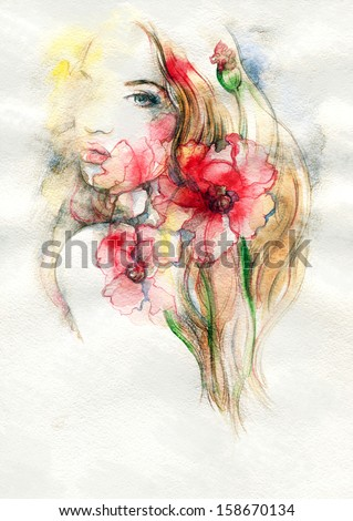 Beautiful woman and flowers . watercolor illustration - stock photo