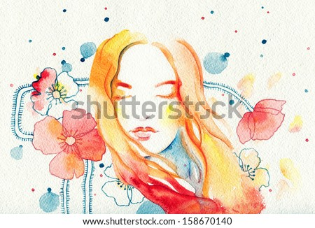 Beautiful woman and flowers. watercolor illustration - stock photo