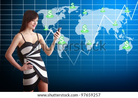 Beautiful woman and Graph report on world map background