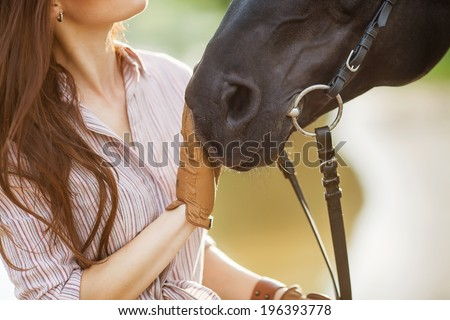 Beautiful woman and horse. Backlight. - stock photo