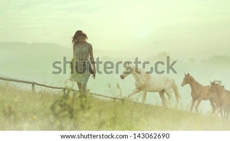 Beautiful woman and horses - stock photo