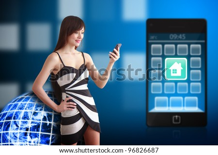 Beautiful woman and house icon on mobile phone : Elements of this image furnished by NASA