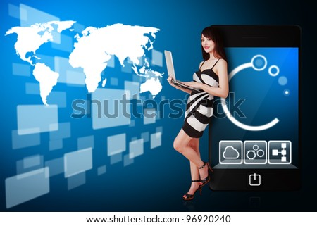 Beautiful woman and world map windows connected