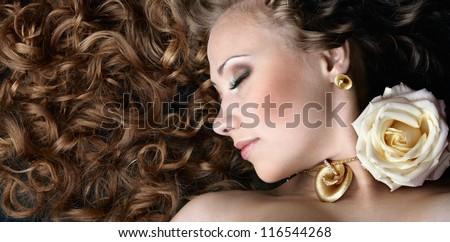 Beautiful woman. Banner. - stock photo