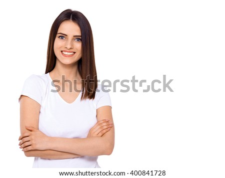 Beautiful woman. Beautiful young woman standing against white background. - stock photo