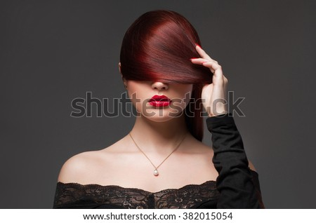 beautiful woman.beauty sexy girl with make-up and healthy hair - stock photo