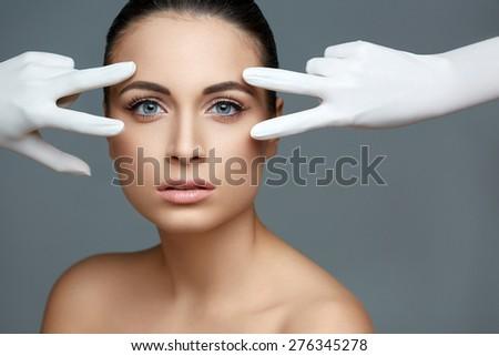 Beautiful Woman before Plastic Surgery Operation Cosmetology. Beauty Face - stock photo