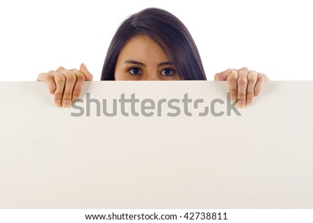 Beautiful woman behind a banner ad -Isolated over a white background