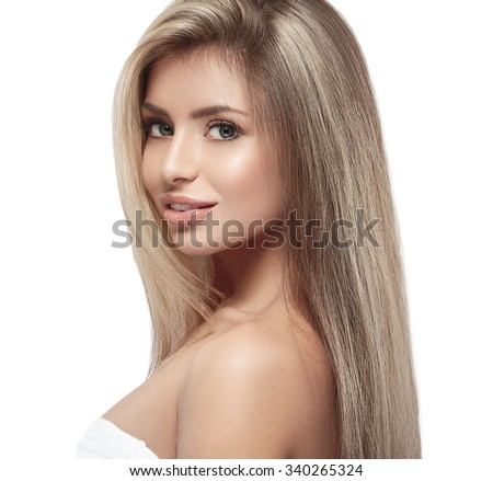 Beautiful woman blonde hair portrait close up studio on white long hair