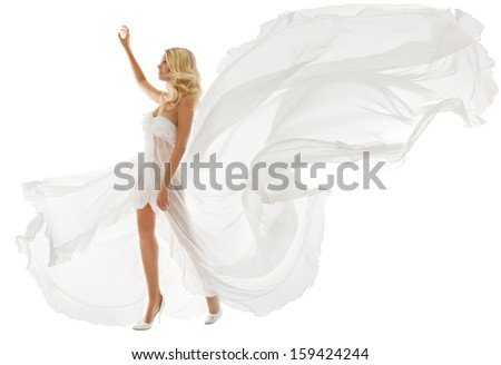 Beautiful woman blonde in white dress with flying fabric over white background  - stock photo