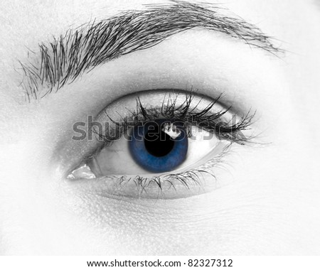 Beautiful woman blue eye abstract closeup