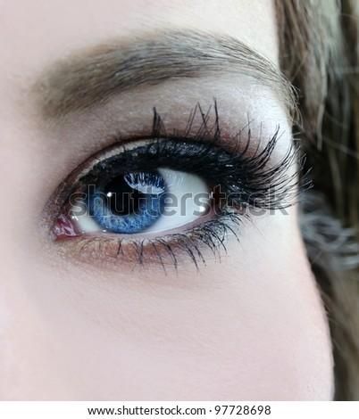 beautiful woman blue eyes macro shoot - stock photo