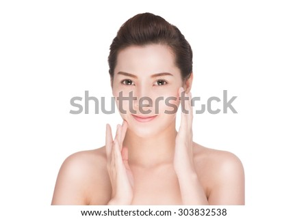 Beautiful woman cares for the skin face, Attractive asian woman Touching her Face, Perfect Fresh Skin, Pure Beauty Model. Youth and Skin Care Concept, , isolated on white with clipping path.  - stock photo