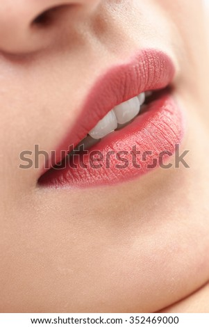 beautiful woman close up lips and mouth open white teeth  - stock photo
