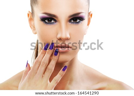 Beautiful woman close up over white background  - stock photo