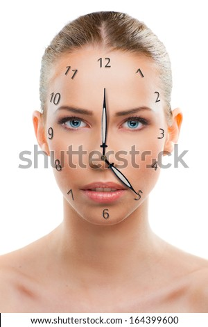 Beautiful woman close up with a clock over white background