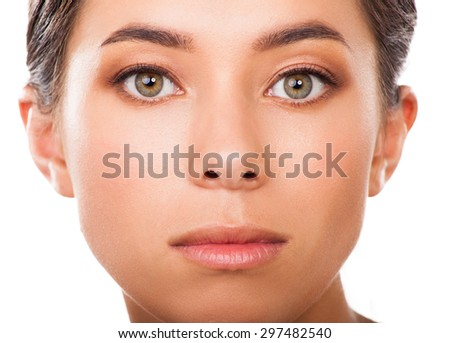 Beautiful  woman closeup . Face beauty - stock photo