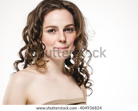Beautiful woman curly hair portrait freckles face closeup nude nature, studio isolated on white - stock photo