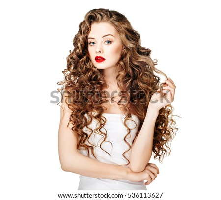 Beautiful woman curly long hair closeup face portrait with nice smile and perfect hairstyle