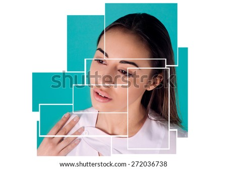 Beautiful woman doctor portrait close-up turquoise background double exposure puzzle - stock photo