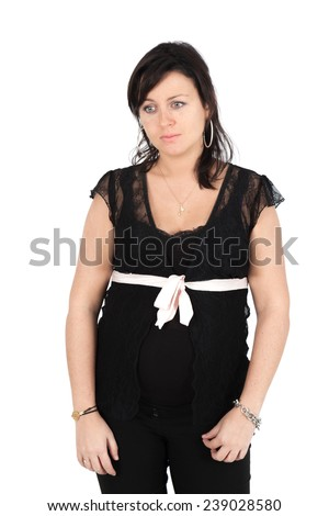 Beautiful woman doing different expressions in different sets of clothes: - stock photo