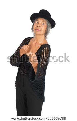 Beautiful woman doing different expressions in different sets of clothes: boxing - stock photo