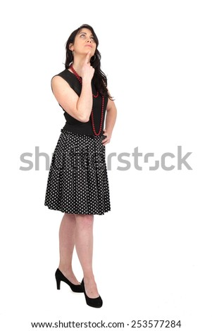 Beautiful woman doing different expressions in different sets of clothes: full length - stock photo
