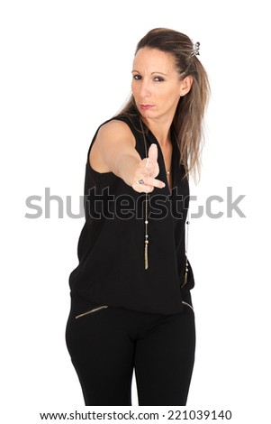 Beautiful woman doing different expressions in different sets of clothes: gun sign