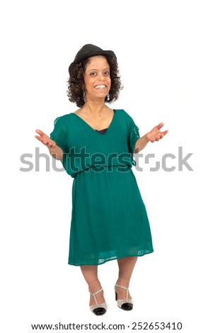 Beautiful woman doing different expressions in different sets of clothes: joy - stock photo