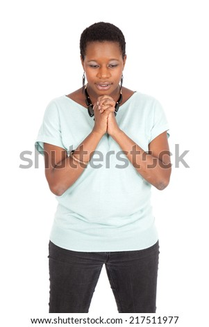 Beautiful woman doing different expressions in different sets of clothes: praying