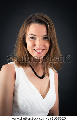 Beautiful woman doing different expressions in different sets of clothes: smile