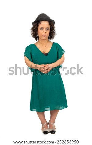 Beautiful woman doing different expressions in different sets of clothes: stomachecahe - stock photo