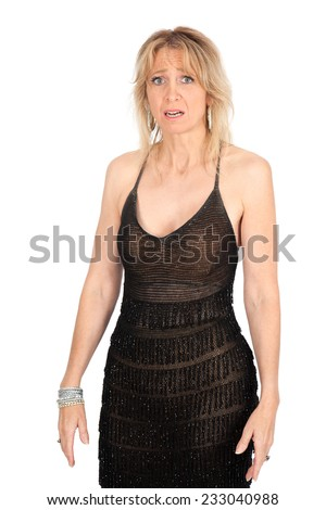 Beautiful woman doing different expressions in different sets of clothes: surprise - stock photo