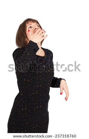 Beautiful woman doing different expressions in different sets of clothes: yawning - stock photo