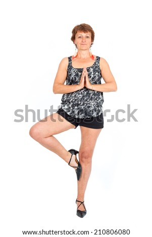 Beautiful woman doing different expressions in different sets of clothes: yoga