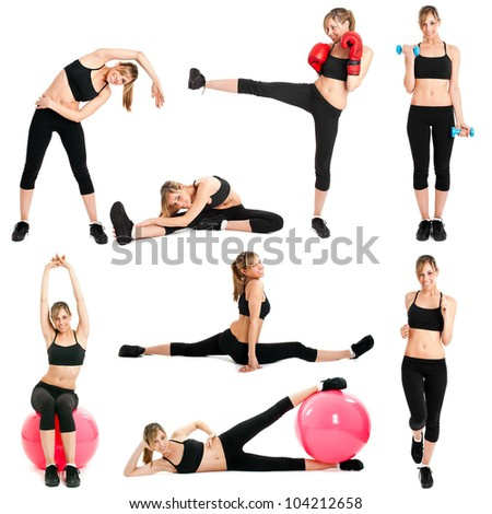 Beautiful woman doing fitness exercises - stock photo