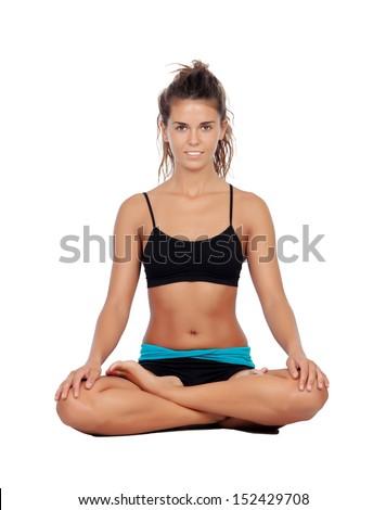 Beautiful woman doing relaxation exercises isolated on white background - stock photo
