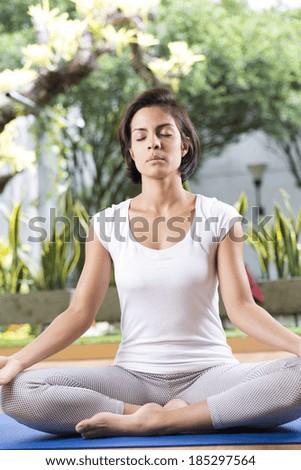 Beautiful Woman Doing Yoga,  Doing Meditation - stock photo