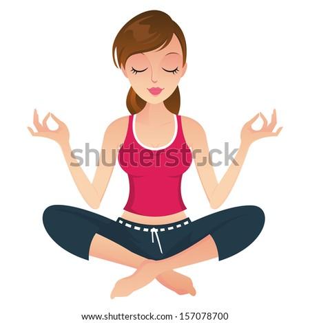 Beautiful woman doing Yoga Meditation isolated - stock photo